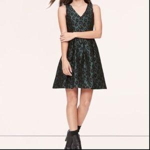 LOFT Ann Taylor Emerald Leopard Fit & Flare Dress